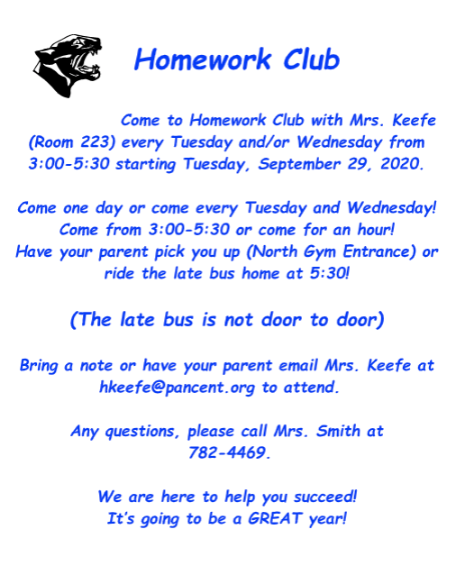 2020-2021 Homework Club Information